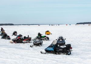Snowmobiles and Ice huts