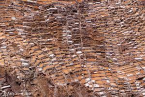 Maras Salt Ponds closeup from above