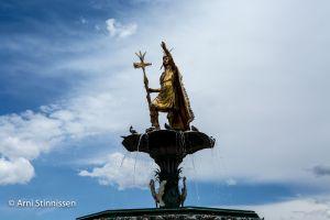 Inca statue in plaza